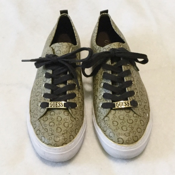 Guess Logo Print Brown Lace Sneakers